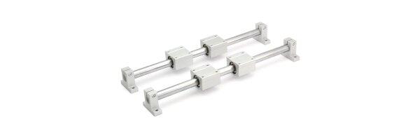 SET: totalmente de plástico de la RJMP-01-20 con carcasa de aluminio pulido / 20 mm de precisión ejes h6 y curados / eje del soporte SH20