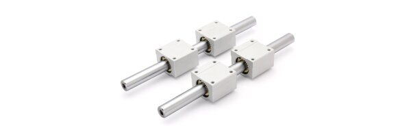 SET: Full plastic bearing RJMP-01-20 & cast alloy precision shafts with threaded holes M10x25