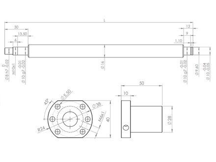 SET Kugelumlaufspindel SFU1610-DM 452mm mit Spindelmutterblock für 1620B-L400