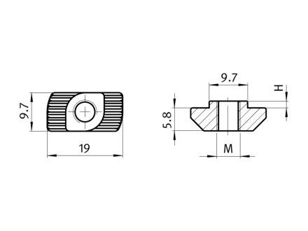 Hammermutter B-Typ Nut 10 M6 VPE = 2 Stück