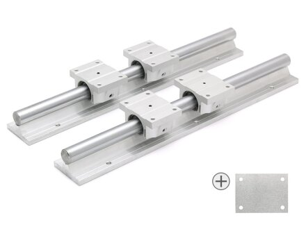 SET: 4x Linearlager TBR20UU + 4x Distanzblech 2mm / 2x Supported Rail TBS20, 500mm