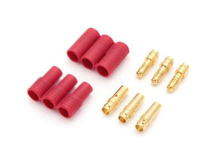Gouden contactstekker 3,5 mm met 3-pins behuizing (2 behuizingen, 6 contacten)