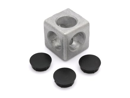 Cube Connector 3D 40 I-type slot 8 incl. 3 caps