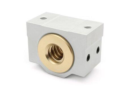 Trapezoidal threaded nut 16x8 P4 R gunmetal with aluminum housing / Easy-Mechatronics - System 1620A / 1620B